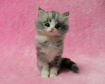 Needle Felted Cute Fluffy Kitten, Silver Tabby: Miniature Needle Felt Cat, Needle Felting