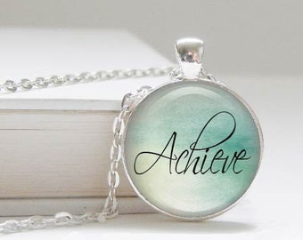DISCONTINUED! Achieve - inspiring word pendant necklace