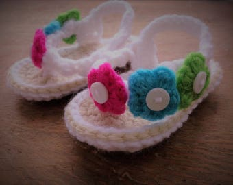 Crochet baby flip flops - Baby girl flip flops - Flower flip flops - Baby Crochet sandals - Baby Girl sandals - Baby Shower Gift