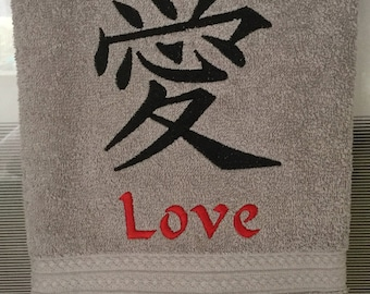 Love Character Embroidered Hand Towel/Gray/Asian Character