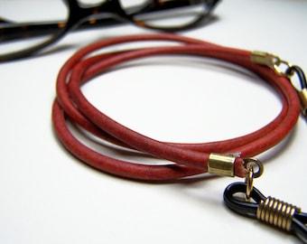 Antik rot Brillen-Kette, 3mm Leder, Brillen-Kette, eine benutzerdefinierte Länge 24-36 Zoll Lederkette für Brille, von Eyewearglamour