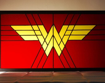 Wonder Woman Artwork Logo Inspired Stained Glass Panel Framed 31x17 inches - Pick up or local delivery only NO SHIPPING