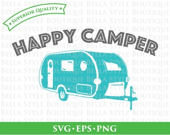 Happy Camper Retro Camper Trailer svg png eps cut file