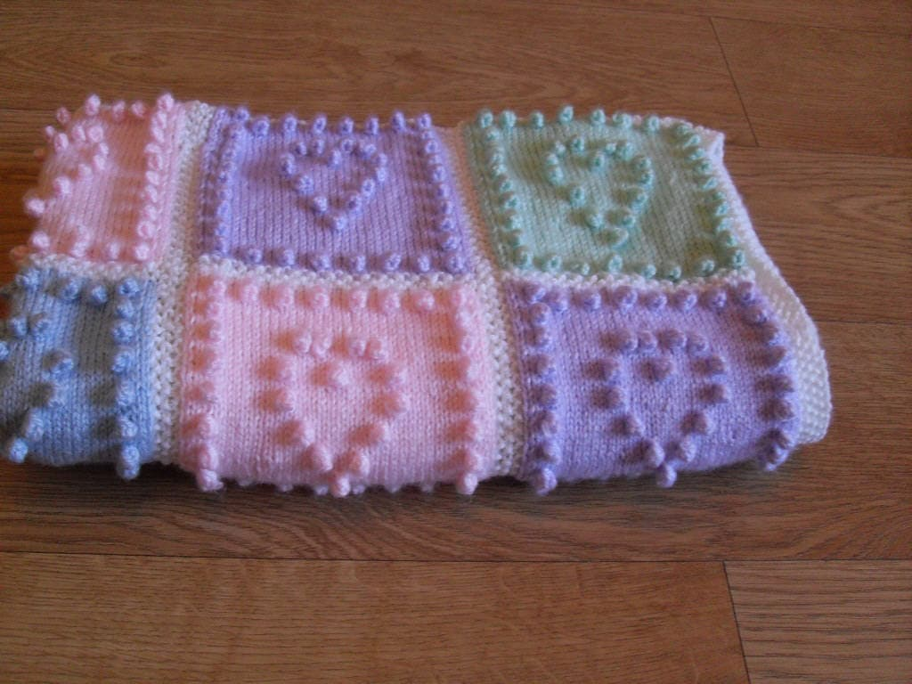 KNITTING PATTERN Baby Blanket Heart Squares Bobble by Peach Unicorn ...