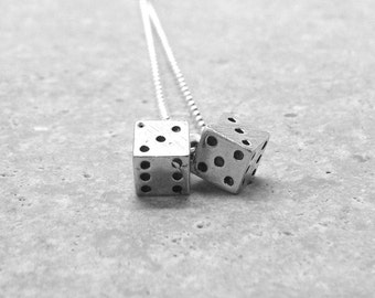 Dice Necklace, Dice Jewelry, Dice Pendant, Charm Necklace, Sterling Silver Jewelry, Dice Necklace, Dice, Dice Charm