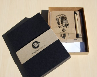 Boxed Letter Writing Set with Cards and Envelopes – Stationery Gift Set, Vintage Microphone