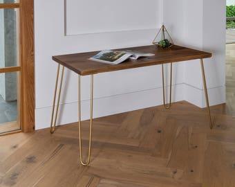 modern desk office. Gold Hairpin Legs Industrial Modern Desk, Rustic Legs, Dark, Desk Office
