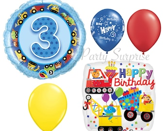 3rd Birthday Boy Balloons Construction Birthday Boy Party Balloon Package 3 year old Boy Birthday Party Balloons