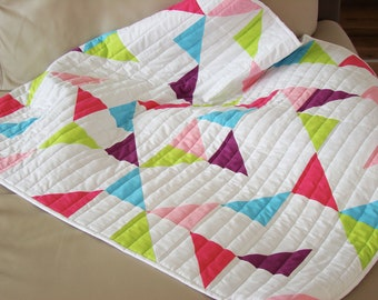 Modern Baby Quilt, Crib Quilt, Baby Girl Quilt, Quilts for Sale, New Mom Gift, Ready to Ship Quilt, Quilt on Sale