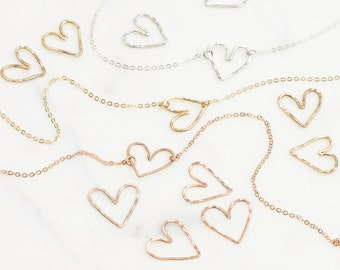 Dainty Heart Necklace in 14k Gold Fill or Sterling Silver, Delicate Chain / Delicate Heart Layered + Long Necklace, LN112