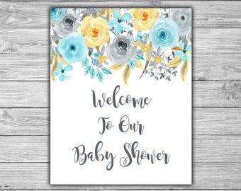 Blue - Floral - Baby Shower - Welcome - Sign - Printable - DIY - Instant Download - Welcome To Our Baby Shower - Sign - 092