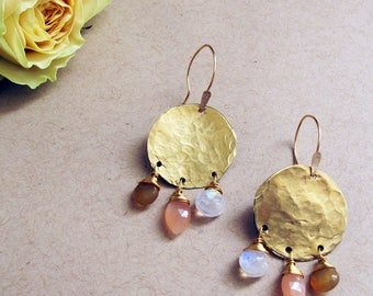 Desert Dreams Earrings - Peach Moonstone, Moonstone, and Chalcedony Circle Earrings - Lightweight Rustic Artisan Earrings
