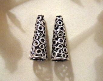 Sterling Circles Design Bead Caps - 20mm long - Beautiful and Elegant -  Bead Cones - Set of 2