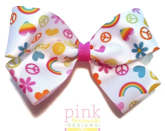 Large Peace Love Happiness Hair Bow