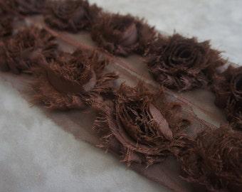 Brown Shabby Rose Trim - Shabby Chiffon Rosettes - Solid Shabby Trim - Shabby Chiffon Flowers 1/2 Yard or 1 Yard