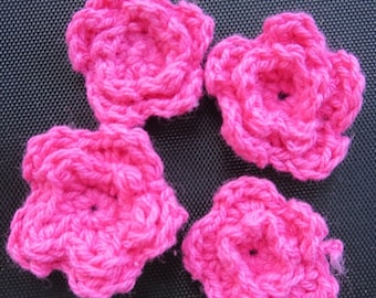 25 PACK - Small Crochet Flowers - Hot Pink - Flash SALE!