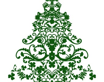 Flourish Christmas Tree 2 Cut File .SVG .DXF .PNG