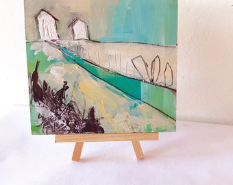Two Houses on the Hill, Acrylic Abstract Landscape on Masonite Board