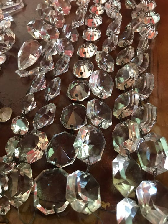 Strand of Chandelier Crystal Prisms in graduated sizes round diamond cut
