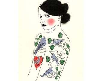 """Illustration Art print Tattooed lady. ACEO/ ACT - The Girl Who Loved Birds - 2.5"""" x 3.5"""" print - 4 for 3 SALE"""