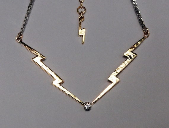 White and Yellow Gold Diamond Lightning Bolt Necklace
