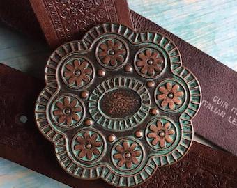 Vintage Brown Leather Flower Buckle Belt M