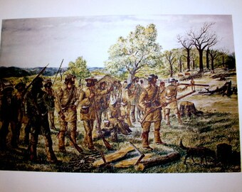 Early American Art Lithograph of Settlers