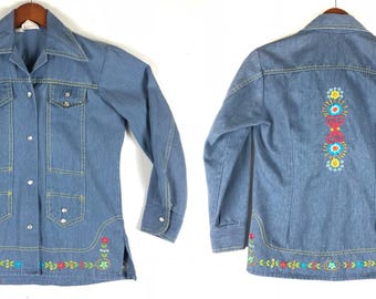 70s Embroidered Denim Pearl Snap