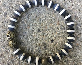 8mm Men's beaded agate bracelet skulls buddha jewelry cross bracelet