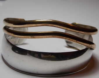 Vintage Renee Lepre Sterling Silver and Brass Cuff Bracelet