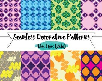 8 Decorative Repeat Pattern Wallpaper/Digital Paper/Digital Scrapbook/Seamless pattern