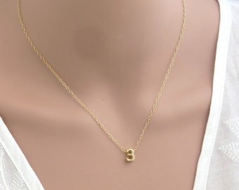 Gold number necklace , gold personalized number necklace , gold filled personalized necklace , number pendant