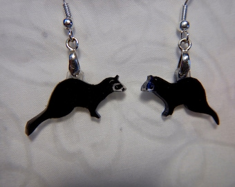 "ferret earrings, 100% recycled plastic,  ""shrinky dink"""