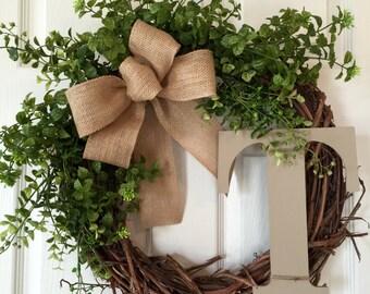 BOXWOOD MONOGRAM WREATH,Summer Wreath,Spring Wreath,Year Round Wreath,Wreath,Fall Wreath,Front Door Wreath