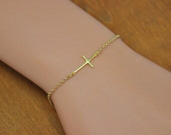 Cross Bracelet, Gold or Silver Sideways Cross Bracelet, Horizontal Cross Bracelet, Celebrity Jewelry, baptism gift, Dainty Cross Jewelry