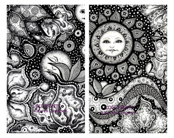 Greeting Cards  Coloring Book  Coloring Pages  Gift Card  Mothers Day Gift  Fantasy Illustration  Art Prints  Drawing Colouring Book