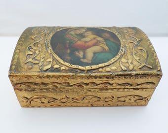 Florentine Box, Vintage Italian Box, Gilded Wooden Box, Jewelry Box, Gold Gilt Wood, Virgin Mary, Trinket Box, Shabby Chic Decor