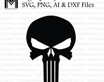 Punisher Skull svg, png, ai and dxf Files -For Commercial & Personal Use- SVG for Cricut Silhouette and Cameo - Vinyl file