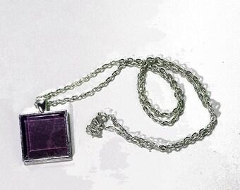 """1"""" Square Glass Tile Pendant - Purple Text"""
