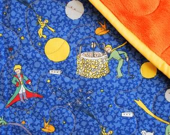 The Little Prince Baby Blanket, Baby Boy Quilt, Orange and Blue Newborn Blanket, Baby Shower Gift, The Little Prince Baby Quilt