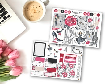 PARIS FASHION STICKERS Mini Kit Weekly Planner Sticker Kit Sticker Set Functional for Erin Condren LifePlanner