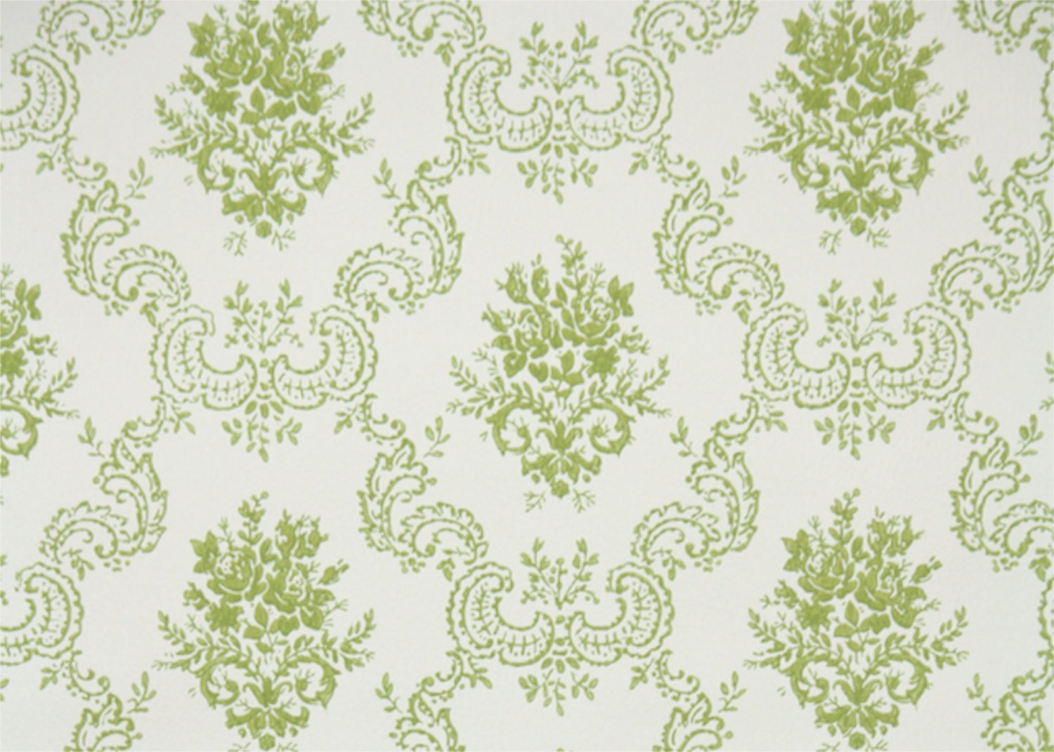 1950s Vintage Wallpaper By The Yard Green And White Rose