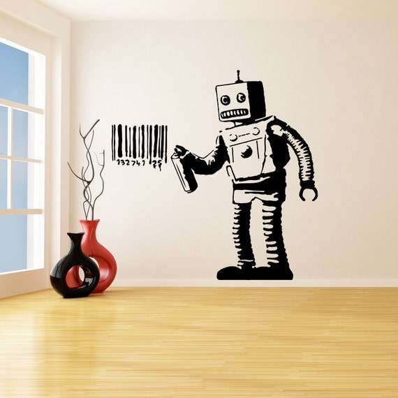 Banksy vinyl wall decal robot graffiti machine painting
