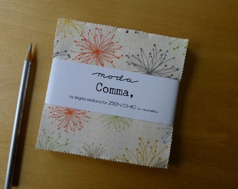 """Comma Charm Pack (42) 5"""" x 5"""" Squares - Zen Chic for Moda - Modern Quilting Sewing Craft Cotton Fabric"""