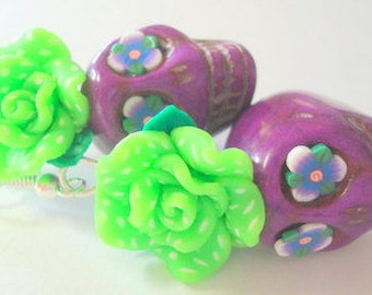 Purple and Green Day of the Dead Roses and Sugar Skull Earrings