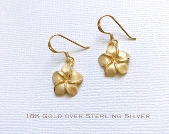 18K Gold over Sterling Silver plumeria dangle earrings