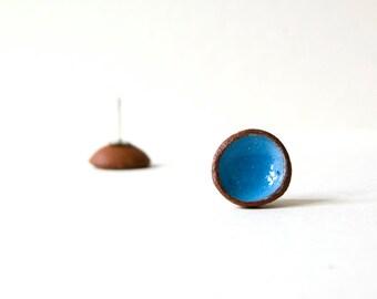 Blue Earrings, Round Earrings, Stud Earrings, Ceramic Earrings, Post Earrings, Blue Stud Earrings, Tiny Earrings, Silver Post, Holiday Gift