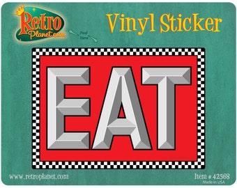 Eat Checkered Border Diner Vinyl Sticker #42568