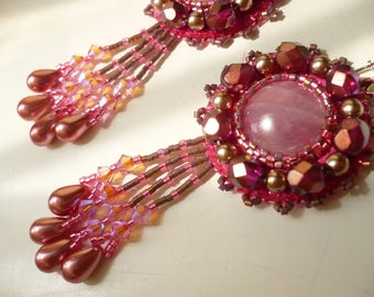 Earrings pink, embroidered, bead embroidery earrings, fantasy, whimsical jewelry, embroidered jewelry earrings