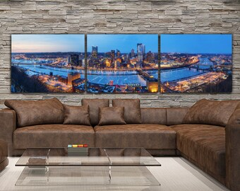Pittsburgh Skyline on Canvas, Large Wall Art, Pittsburgh Print, Pittsburgh art, Pittsburgh Photo, Pittsburgh Canvas, Panoramic Pittsburgh